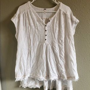 Free People White Oversized Henley Tee